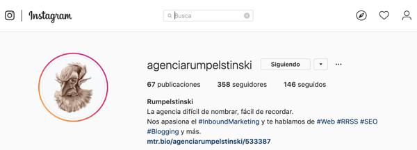 Cuenta Instagram Rumpelstinski Agencia Digital