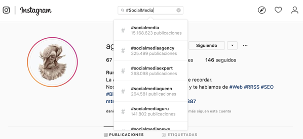 como buscar hashtags en Instagram